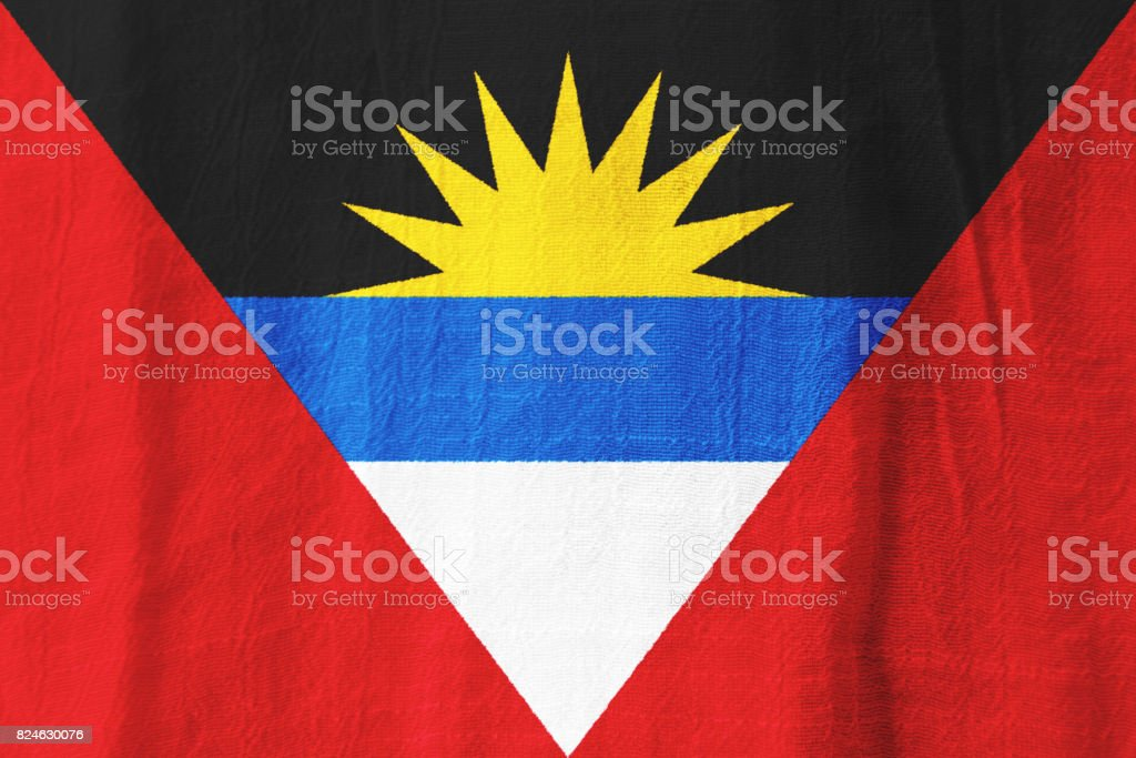 Antigua and Barbuda fabric flag  national flag from fabric for graphic design. stock photo