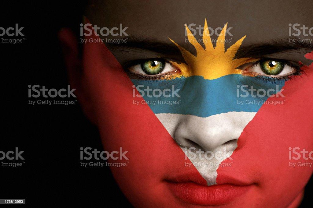 Niño Antigua y Barbuda bandera - foto de stock