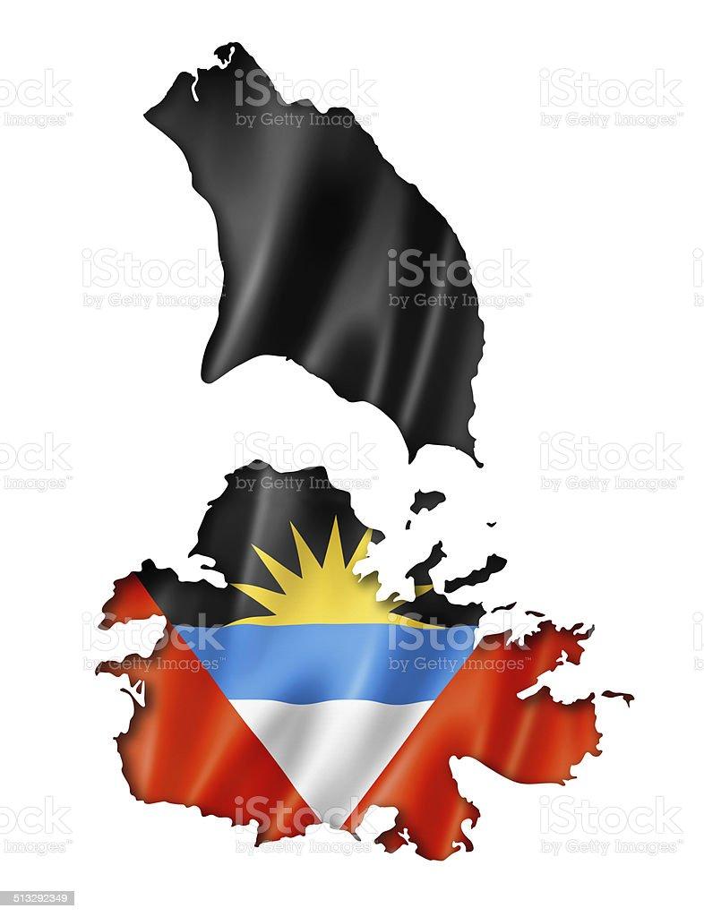 Antigua and Barbuda flag map stock photo