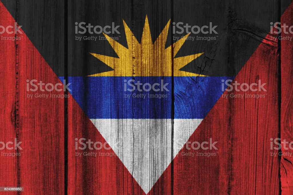 Antigua and Barbuda flag painted on wooden wall for background stock photo