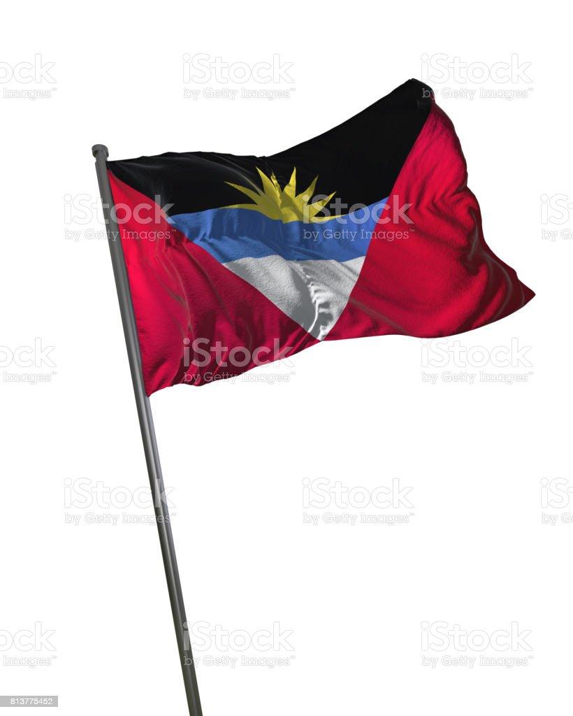 Antigua and Barbuda Flag Waving Isolated on White Background Portrait stock photo