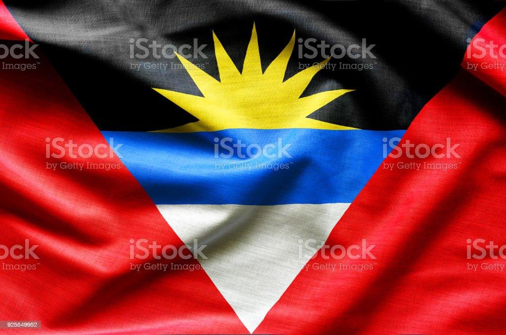Antigua and Barbuda flag waving stock photo