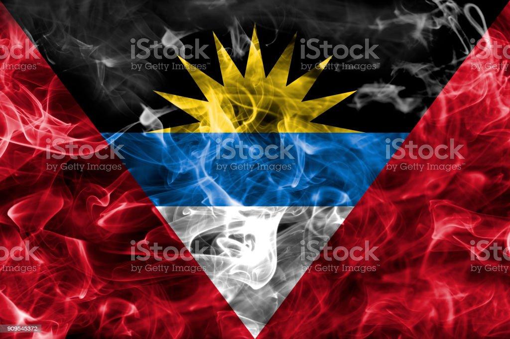 Antigua and Barbuda smoke flag stock photo