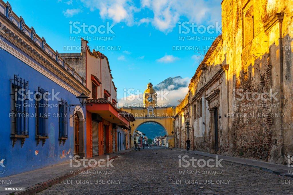 Antigua City at Sunrise, Guatemala stock photo