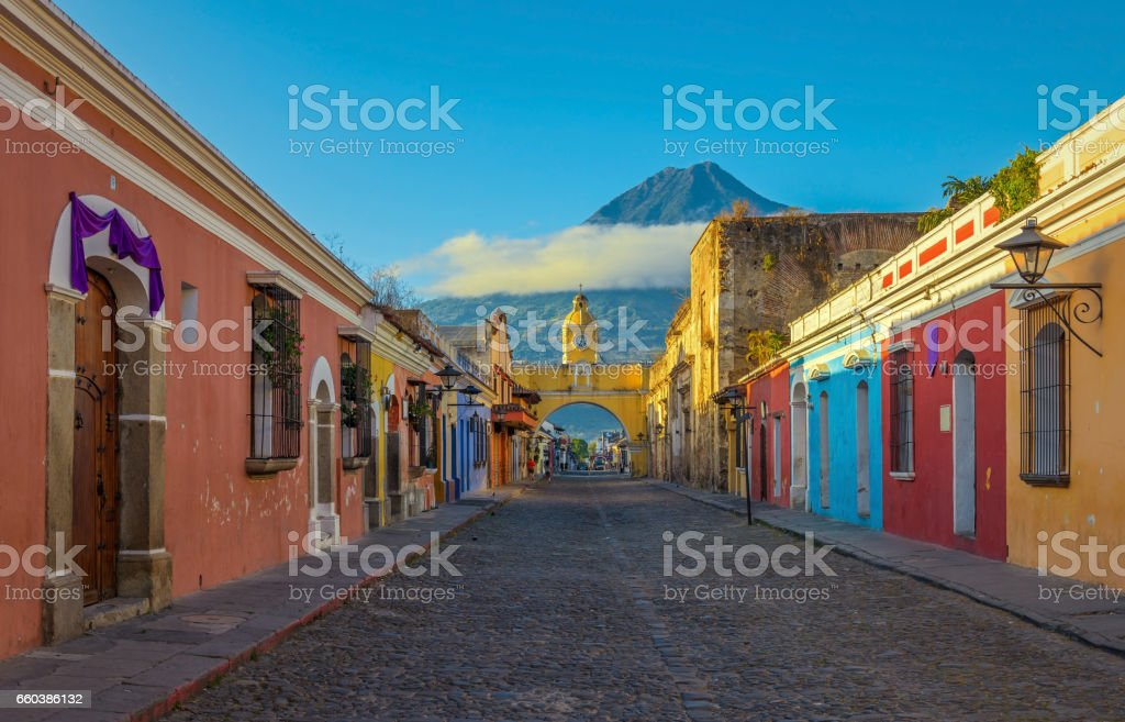Antigua City at Sunrise stock photo