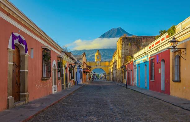 Antigua City at Sunrise stock photo