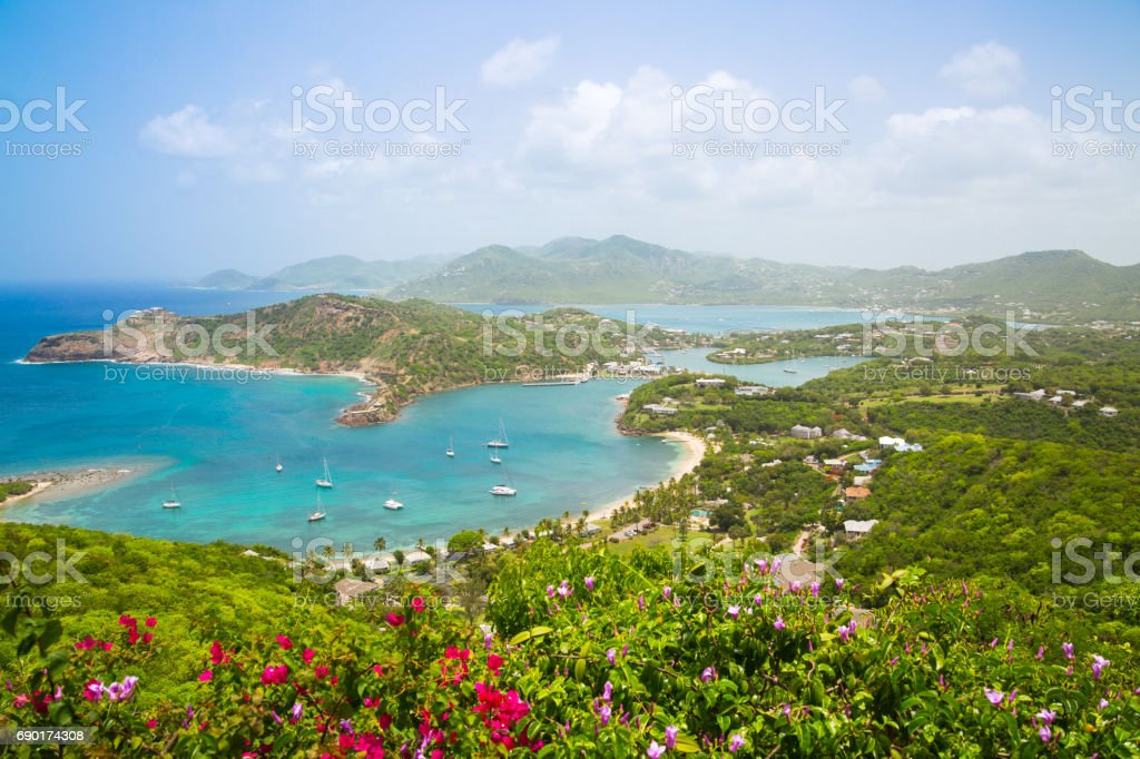Antigua, English Harbour panoramic view with boats and yachts. View include Freeman bay and beach stock photo