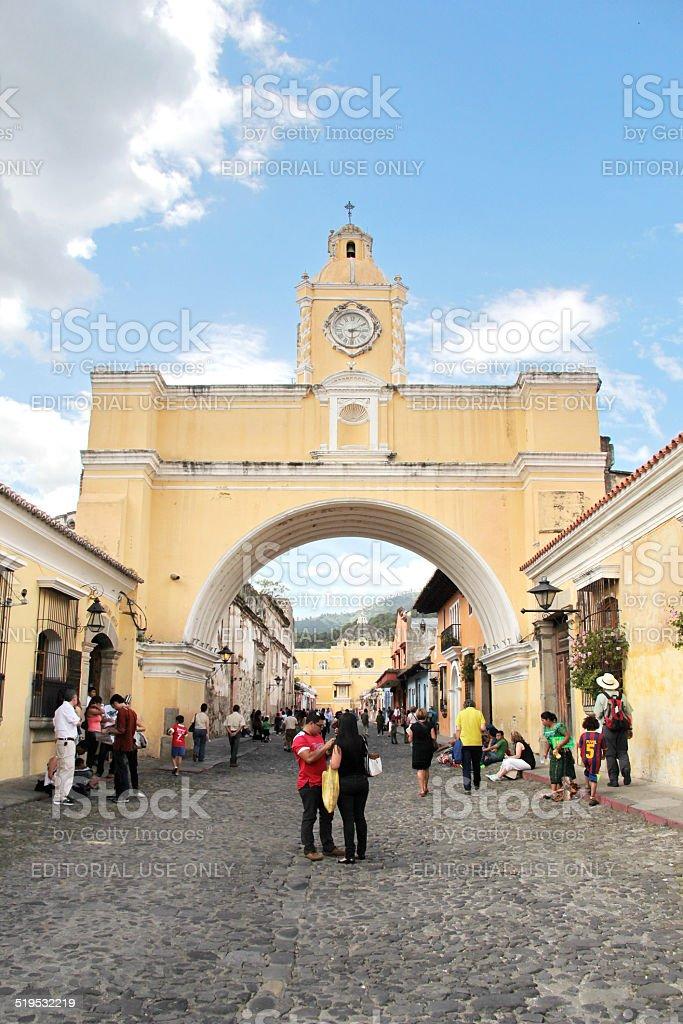 Antigua, Guatemala: Arch of Santa Catalina, a city icon stock photo