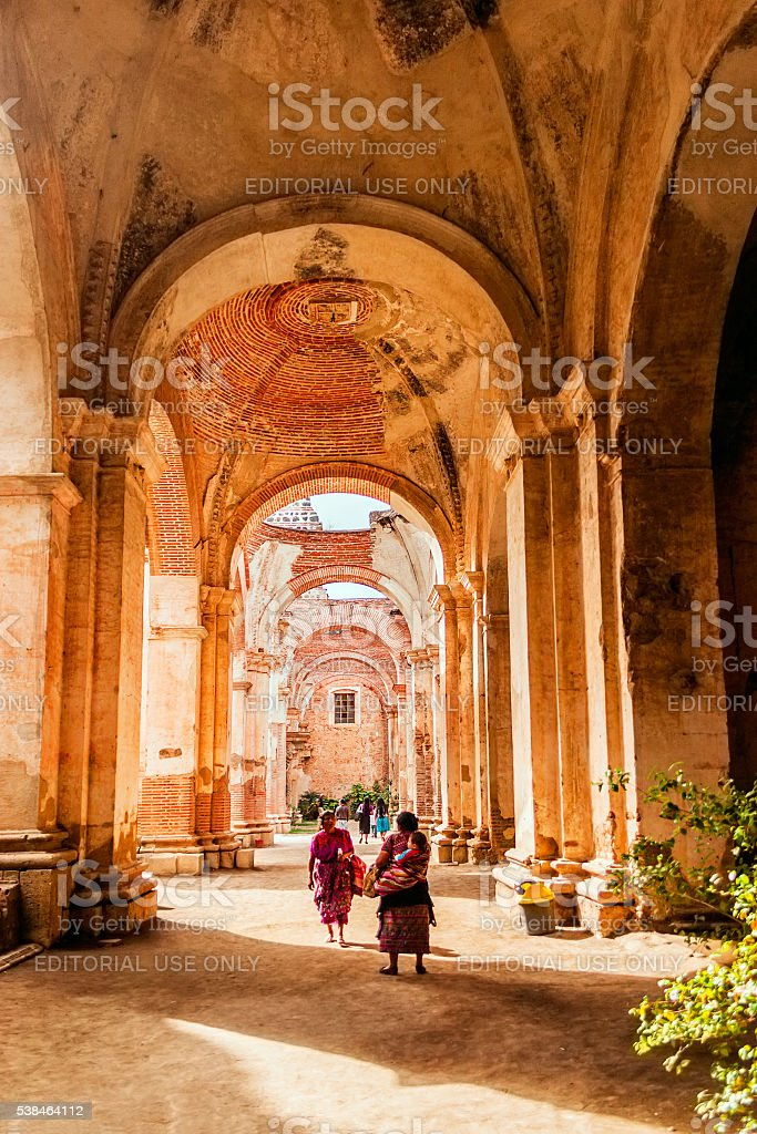 Antigua Guatemala Cathedral ruins stock photo