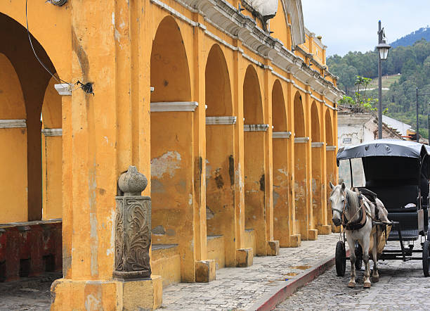 Antigua Guatemala horse and communal basins stock photo