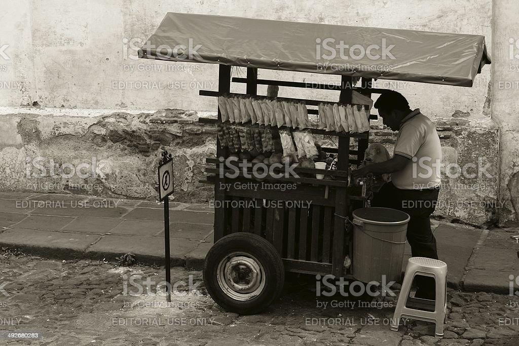 Antigua Guatemala Street vendor cart snack & fruit juice stock photo