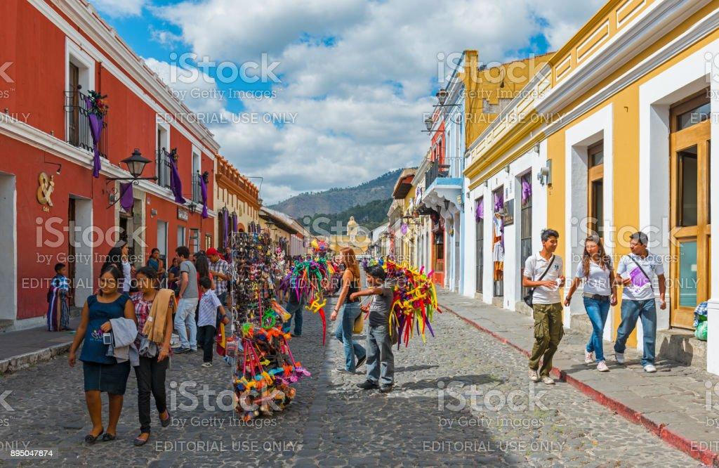 Antigua Main Street Cityscape stock photo