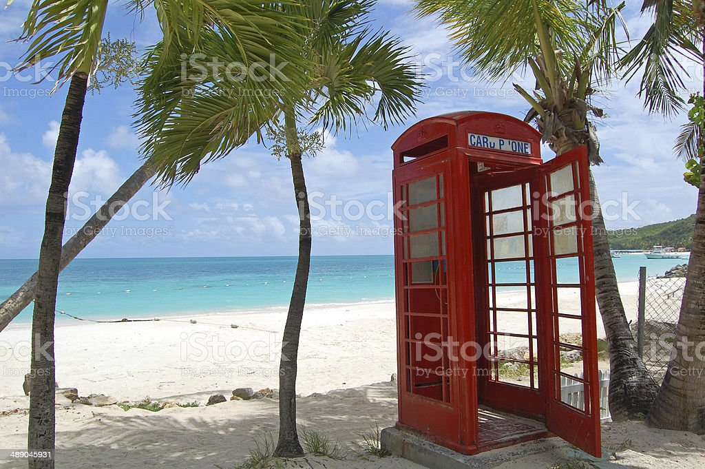 Antigua Phone Box stock photo