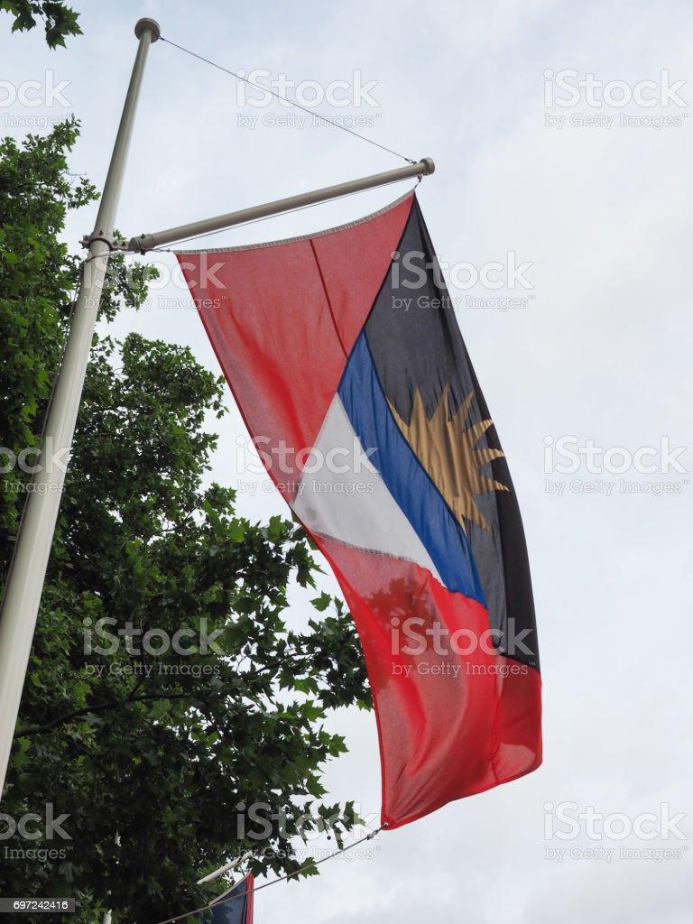 Antiguan Barbudan Flag of Antigua And Barbuda stock photo