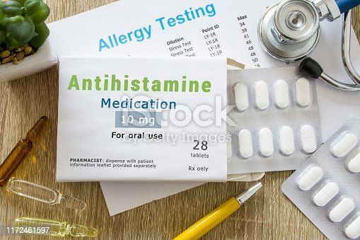 istock Antihistamine medication or allergy drug concept photo. On doctor table is pack with word