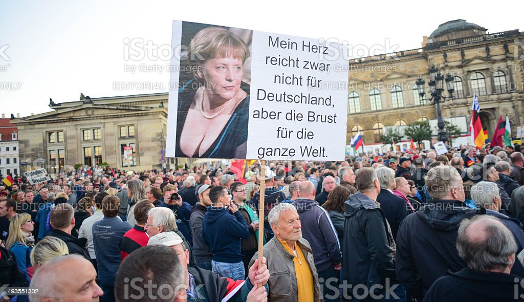 Anti-Islamization Demonstration in Dresden stock photo