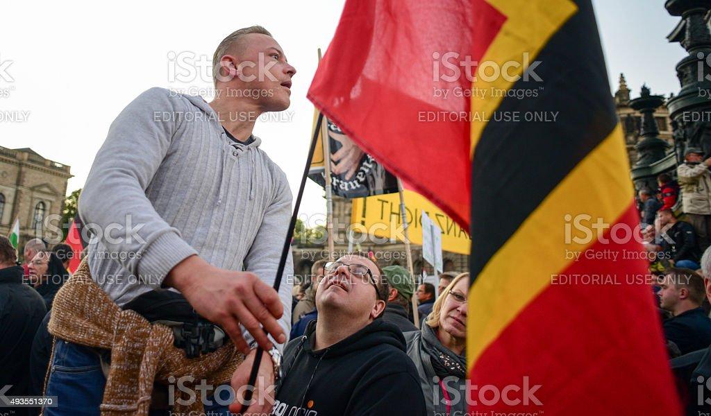 Anti-Islamization Demonstration in Dresden stock photo