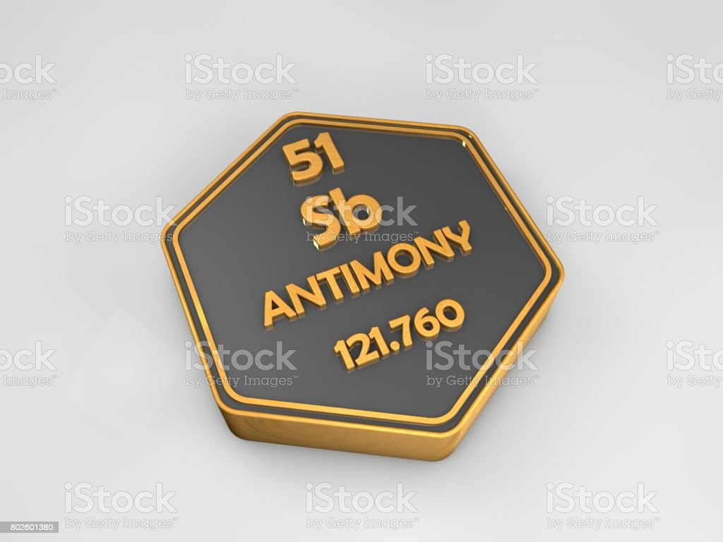 Antimony sb chemical element periodic table hexagonal shape 3d antimony sb chemical element periodic table hexagonal shape 3d render royalty free stock biocorpaavc Images