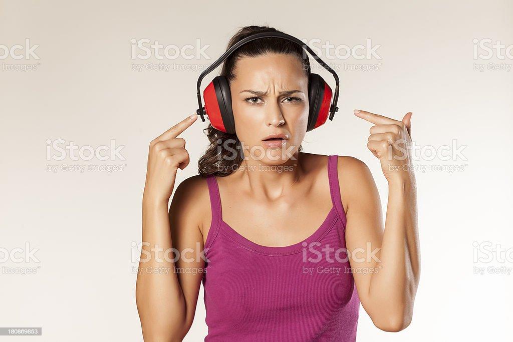Anti-noise headset royalty-free stock photo