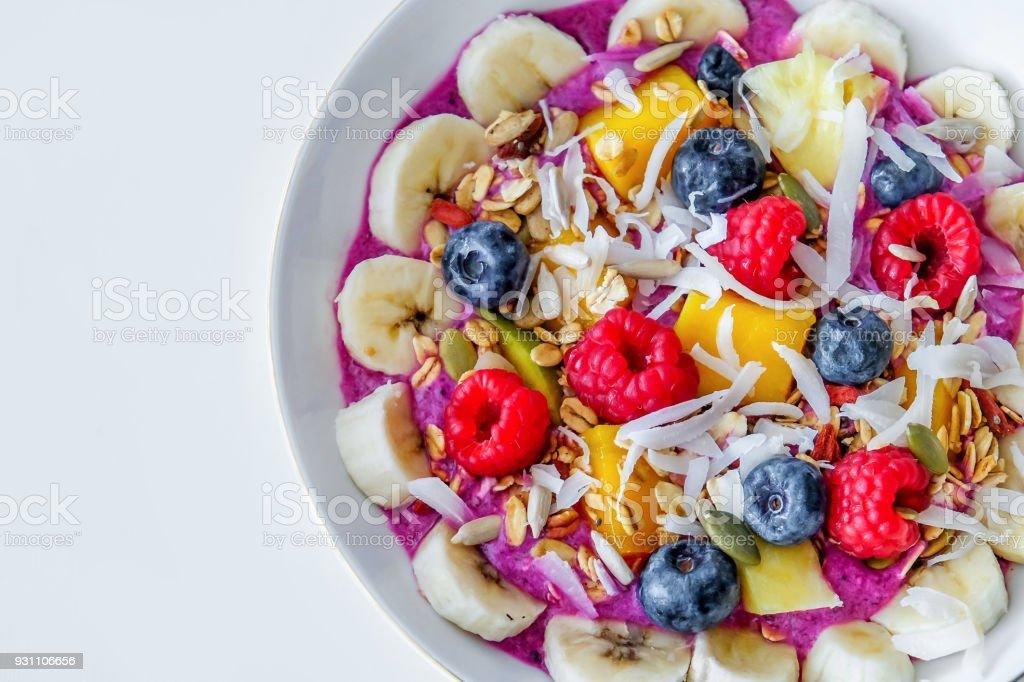 Antioxidant berry smoothie bowl stock photo