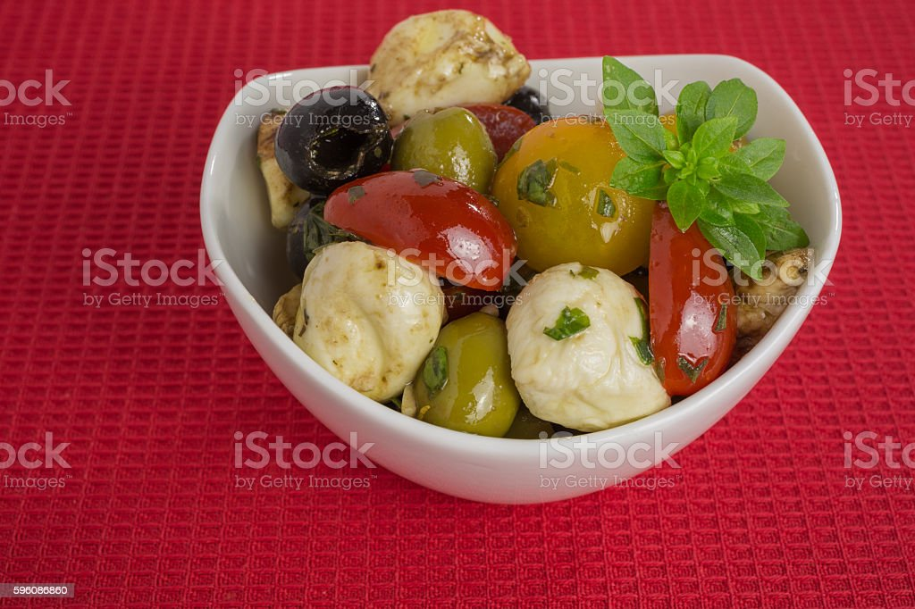 antipasti salad with mozzarella and olives royalty-free stock photo