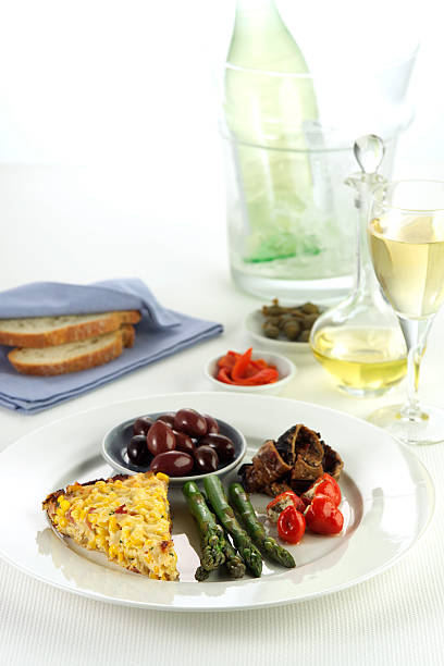 Antipasto Dish with Wine and Cooler stock photo
