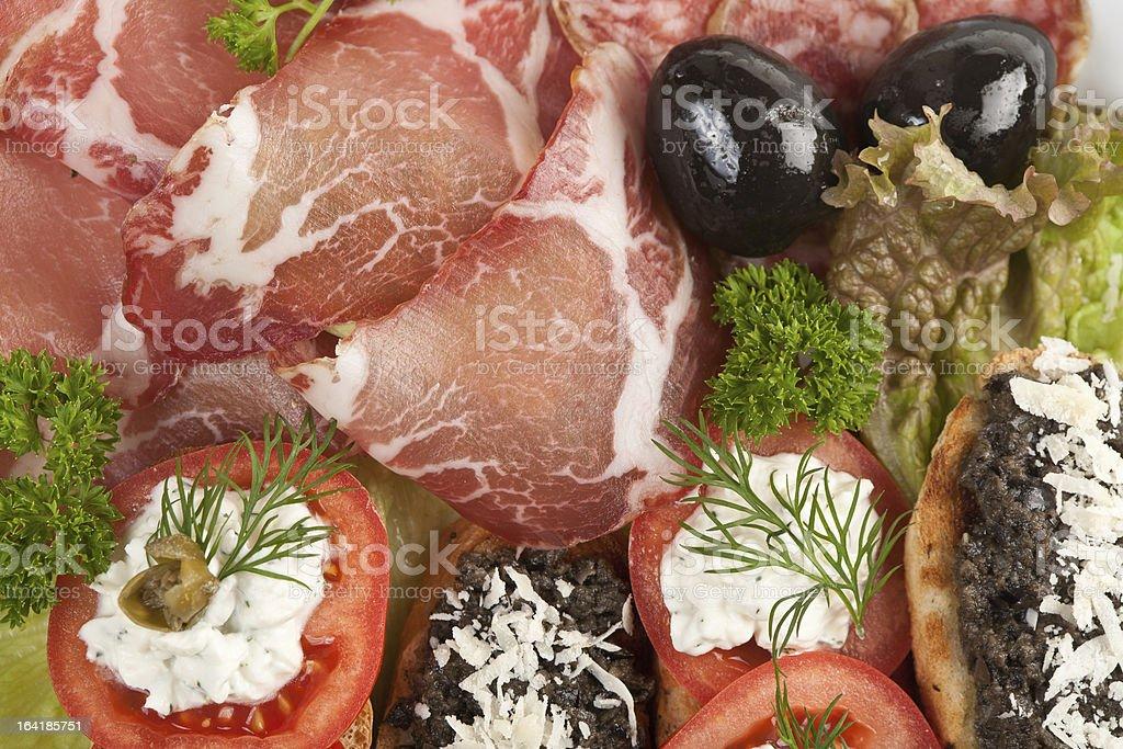 Antipasto plate stock photo