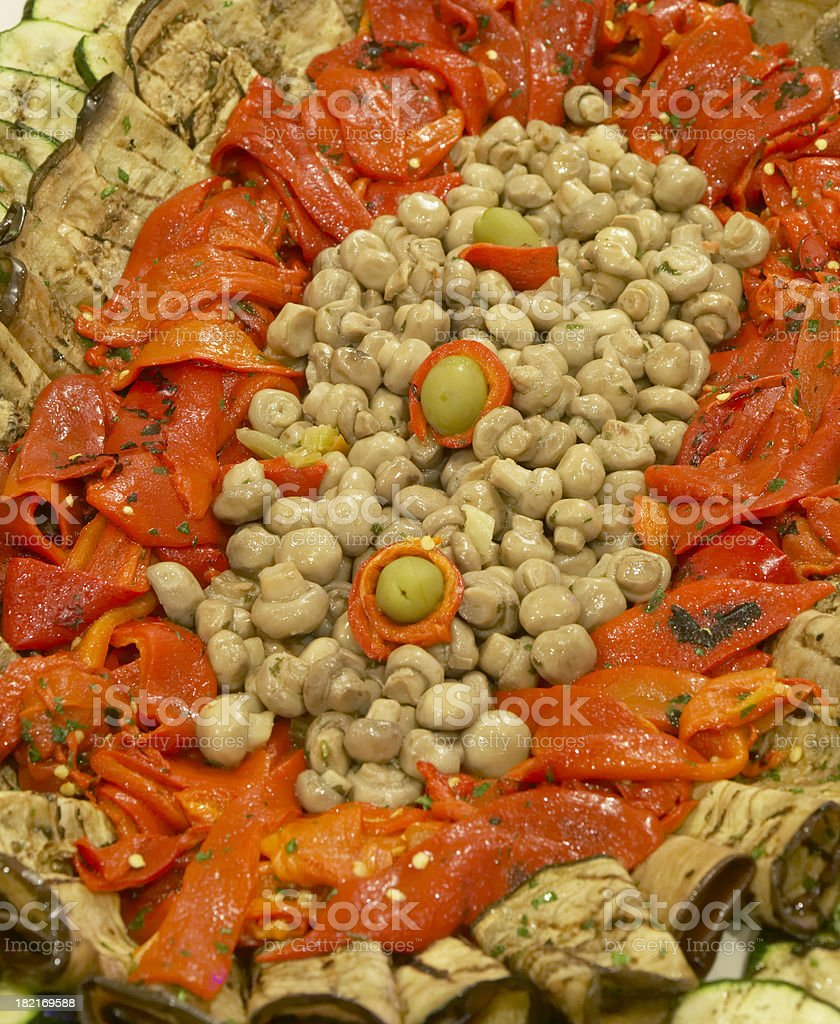 Antipasto platter detail stock photo