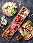 istock Antipasto Platter. Ham serrano, salami olive jamon dip sauces and red wine 1081735320