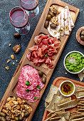 istock Antipasto Platter. Ham serrano, salami olive jamon dip sauces and red wine 1081735328
