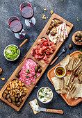 istock Antipasto Platter. Ham serrano, salami olive jamon dip sauces and red wine 1081735358