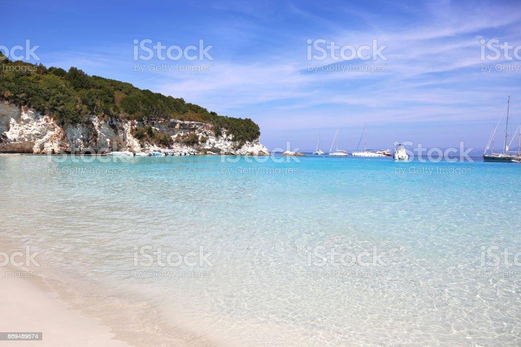 Paisagem de praia de Antipaxos Grécia - foto de acervo