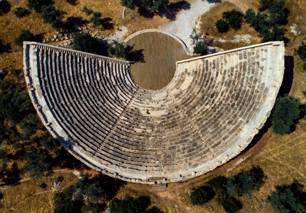 Antiphellos ancient theater Antalya Aerial photo of Kaş Antiphellos ancient theater. amphitheater stock pictures, royalty-free photos & images