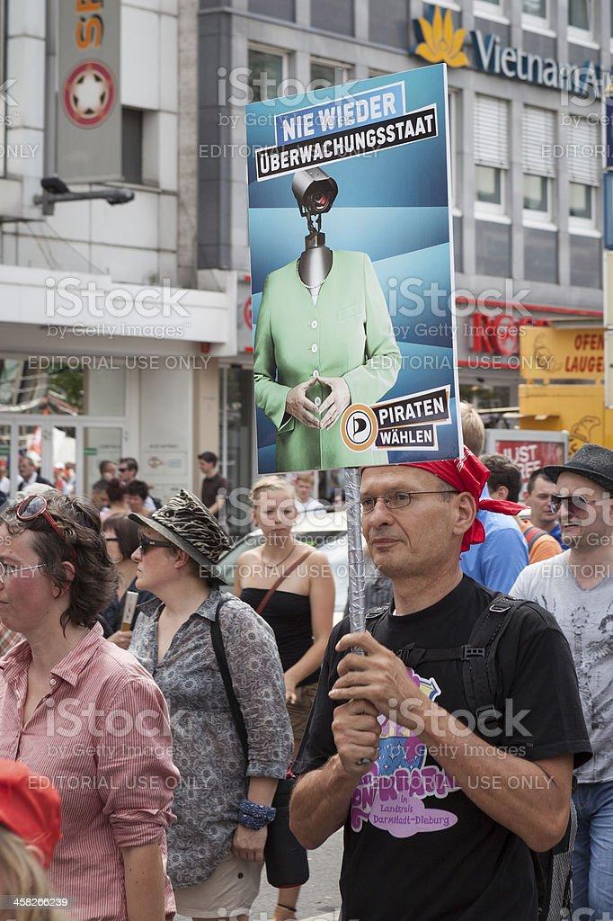 Anti-Prism demonstration, Frankfurt stock photo