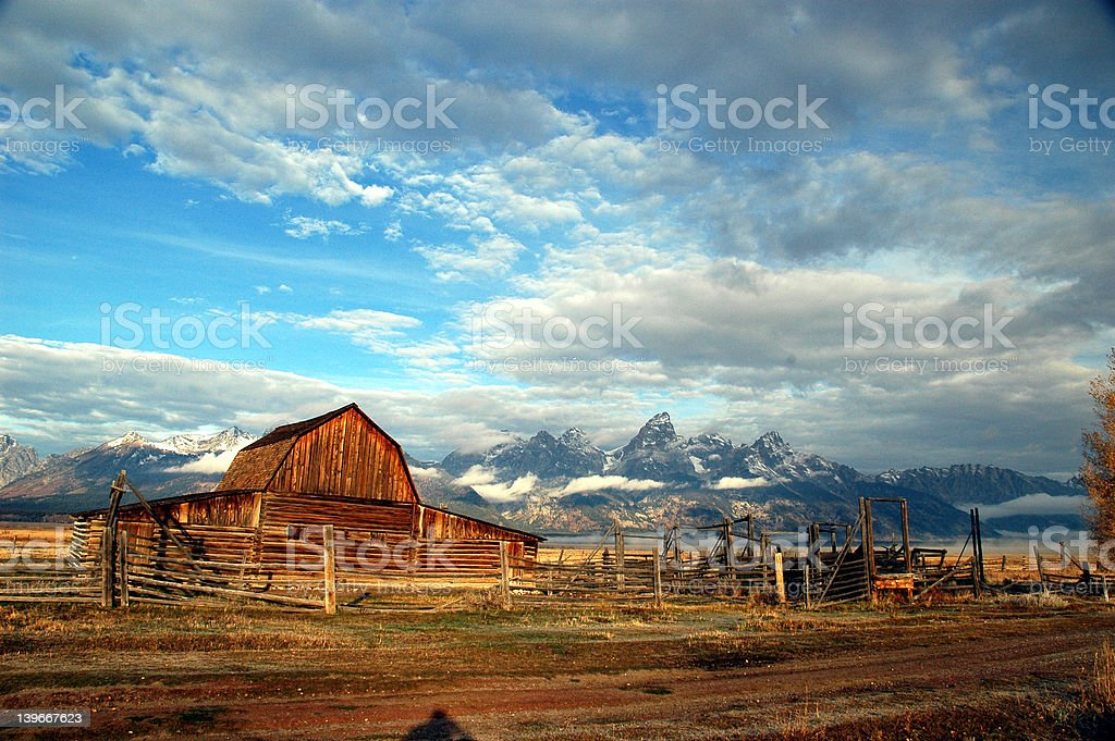 Antiquated Barn in Mountains royalty-free stock photo