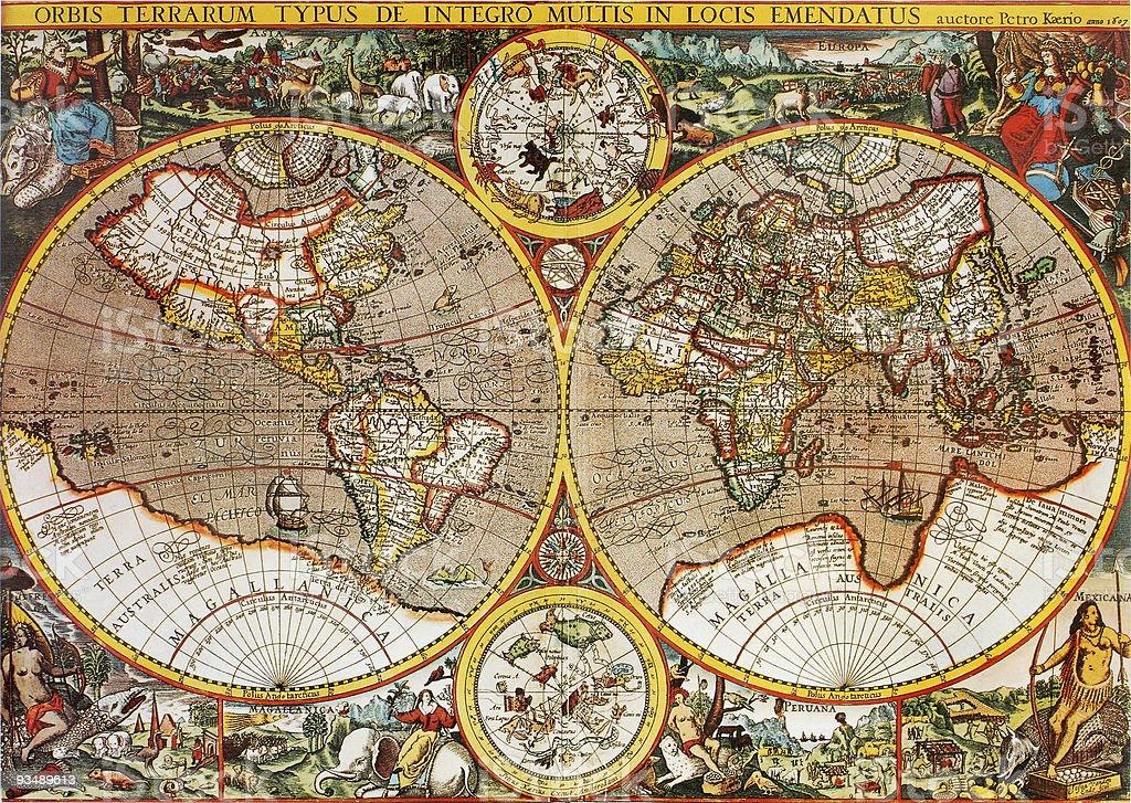 Antiguo mapa mundial en el siglo XVII por Petro Kaerio - Foto de stock de Anticuado libre de derechos