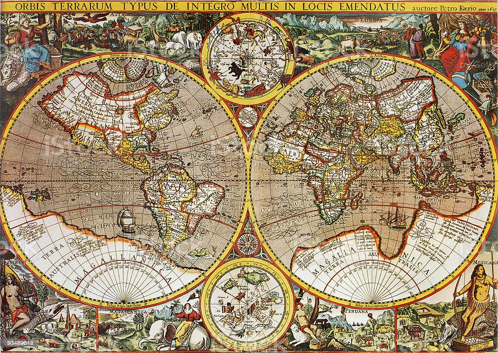 Antique 17th Century World Map by Petro Kaerio stock photo