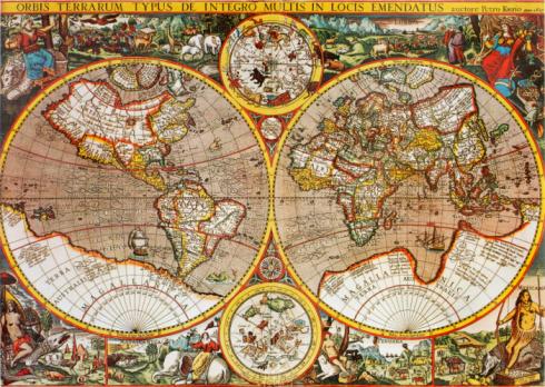 Antiguo Mapa Mundial En El Siglo Xvii Por Petro Kaerio Foto de stock y más banco de imágenes de Anticuado