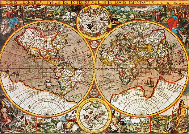 antiguidade século xvii mapa do mundo por petro kaerio - mapa mundi imagens e fotografias de stock