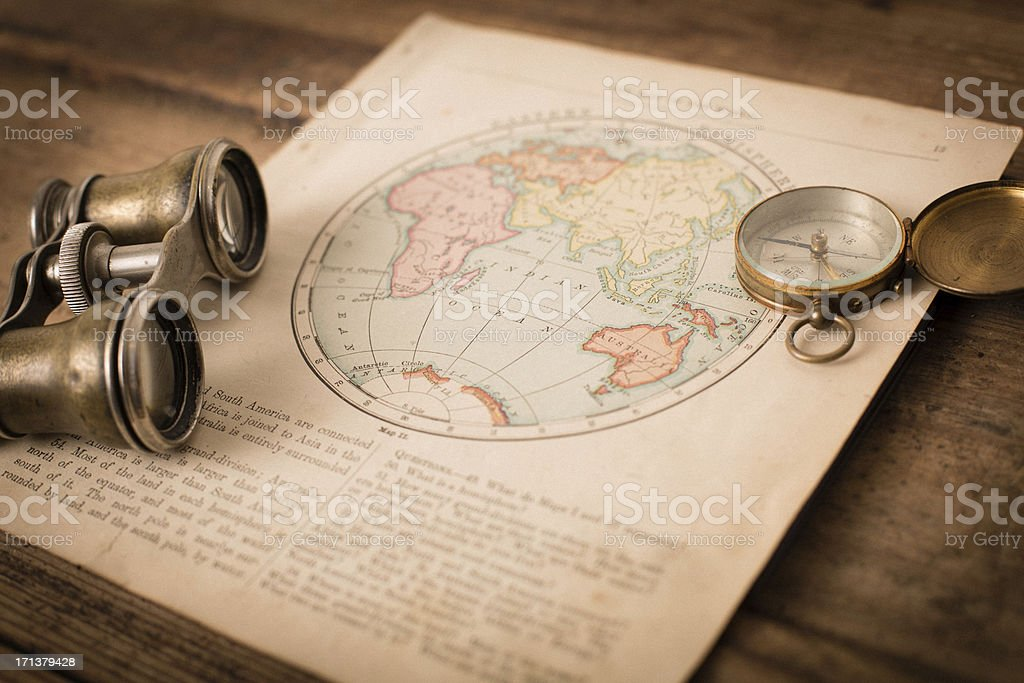 Antique 1870 Map Of Eastern Hemisphere Binoculars And Compass stock ...