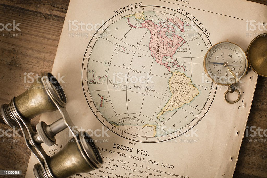 Antique 1870 Map of Western Hemisphere, Binoculars, and Compass royalty-free stock photo
