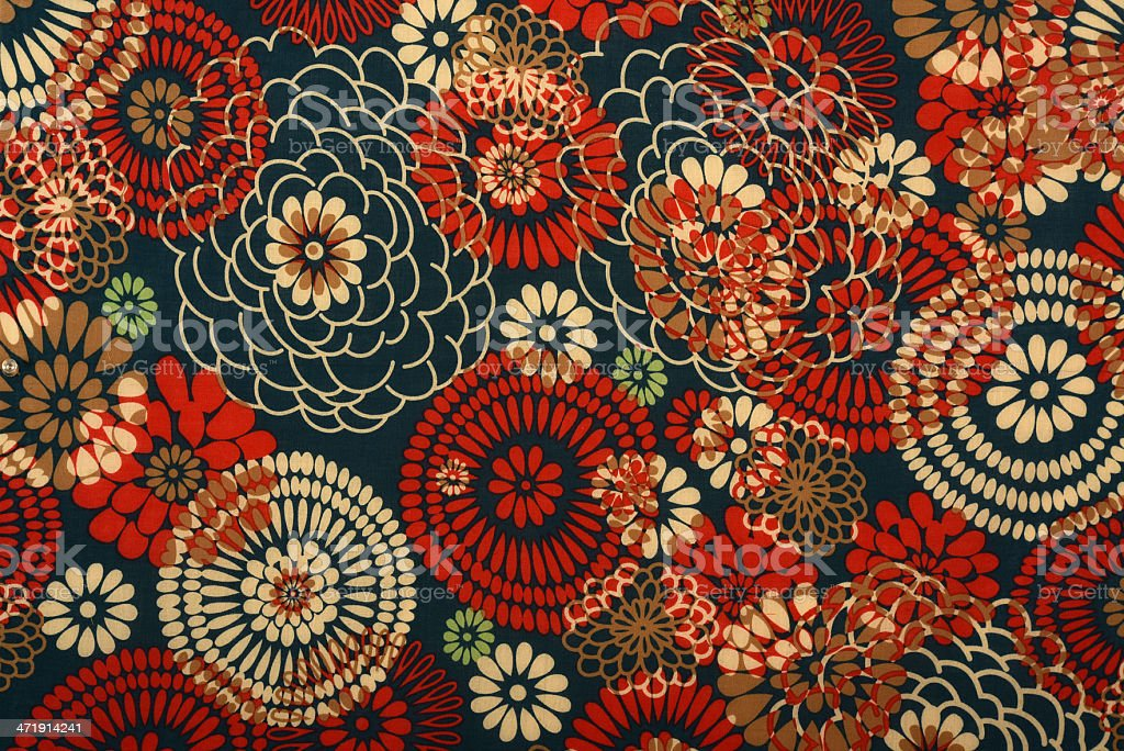 Antique Abstract Fabric With Stylised Flowers stock photo