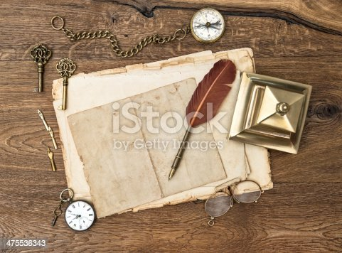 istock antique accessories and office supplies on wooden table 475536343