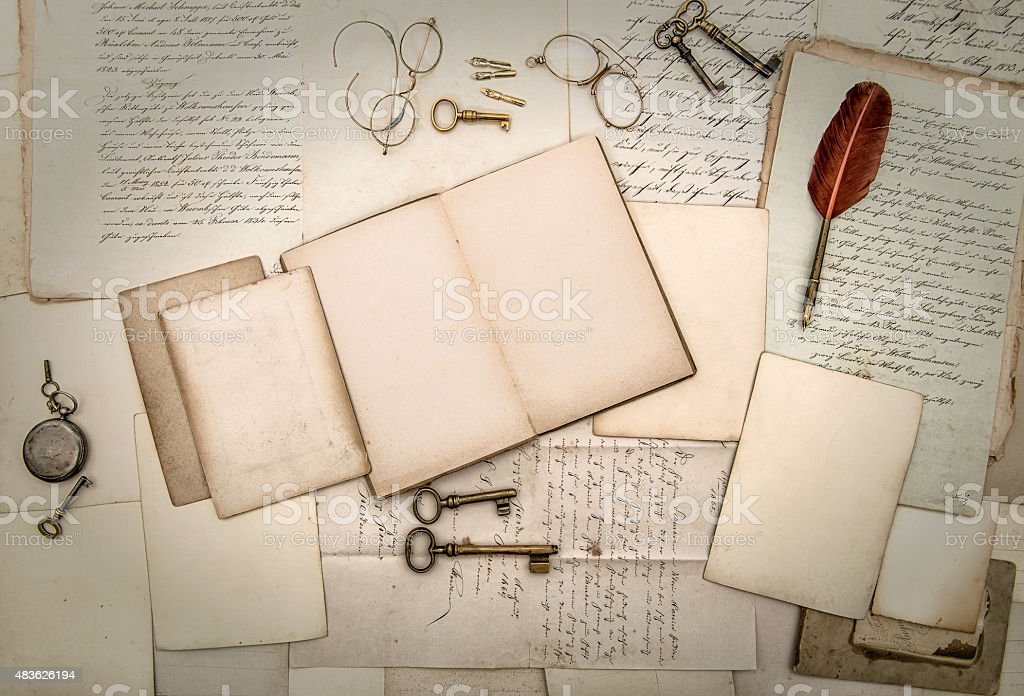 Antique accessories and office tolls, old letters and postcards stock photo