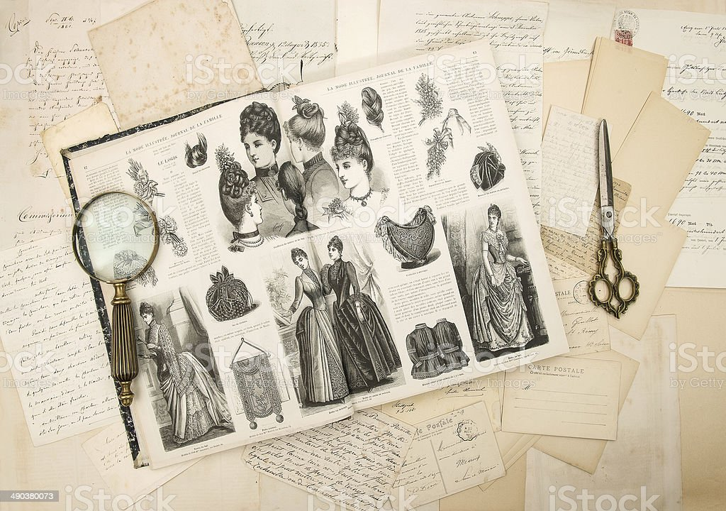antique accessories, letters and fashion magazine 1888 stock photo