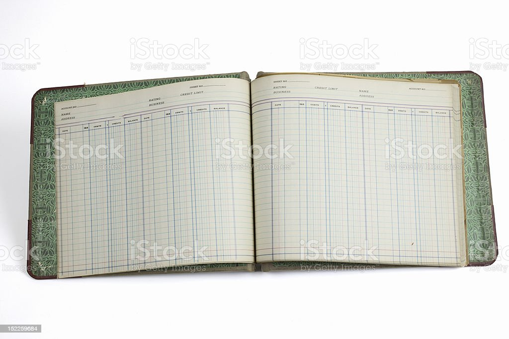 Antique accounting book stock photo