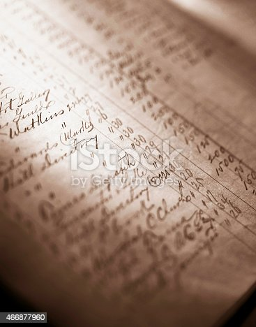 Antique accounting ledger.