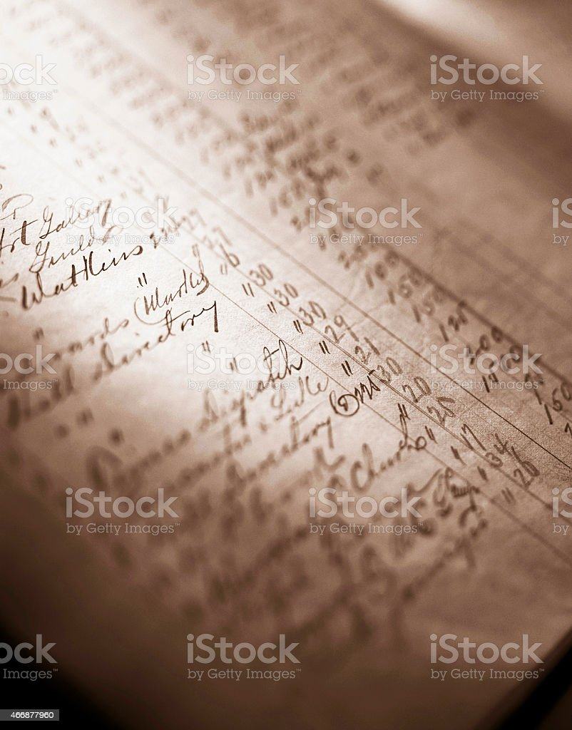 Antique accounting ledger. stock photo