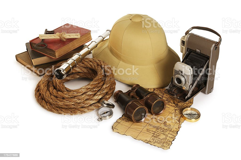 Antique Adventure Gear on White royalty-free stock photo