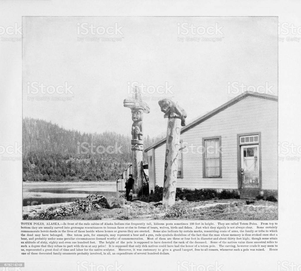 Antique Alaskan Photograph: Totem Poles, Alaska, 1893 stock photo